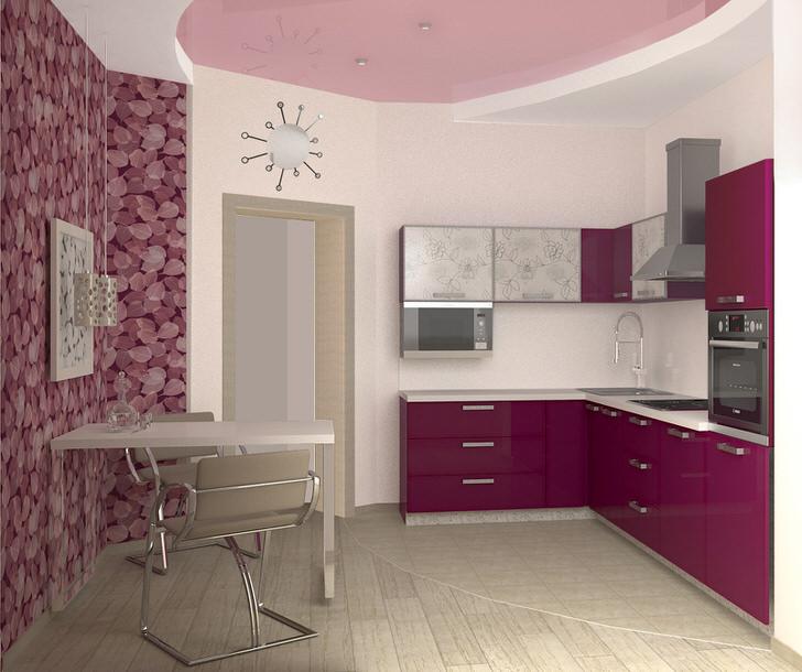Нежные оттенки фиолетового изысканной смотрятся на кухне, площадь которого составляет 12 квадратных метров. Классический и достаточно удобный дизайнерский проект для обычной городской квартиры.