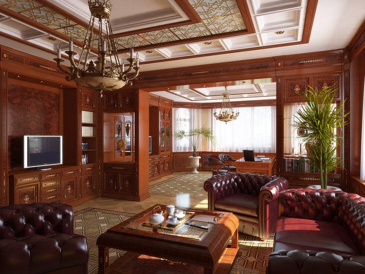 Гостиная в английском стиле оформлена преимущественно с использованием благородных пород древесины.