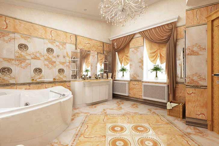 Цвет слоновой кости гармонично сочетается с оттенками яркого оранжевого цвета в ванной, оформленной в стиле ампир.