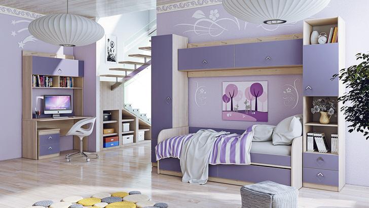 Нежно-фиолетовый цвет отлично походит для модульной мебели для детской комнаты.