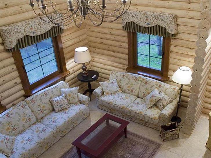 Изысканная гостиная в английском стиле для небольшого охотничьего домика. Уютное место для теплых, романтических вечеров.