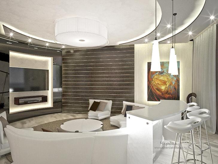 Дизайнер удачно подобрал освещение для гостиной в стиле хай-тек. Многоярусные натяжные потолки выгодно смотрятся с точечным освещением.