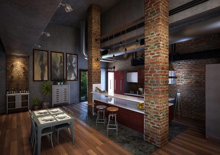 Кухня в лофт стиле в большом загородном доме.
