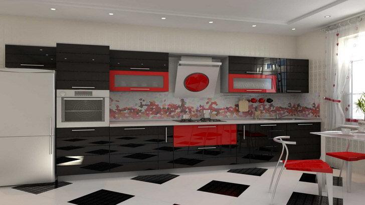 Для кухни используются встроенные точечные светильники над кухонной зоной.