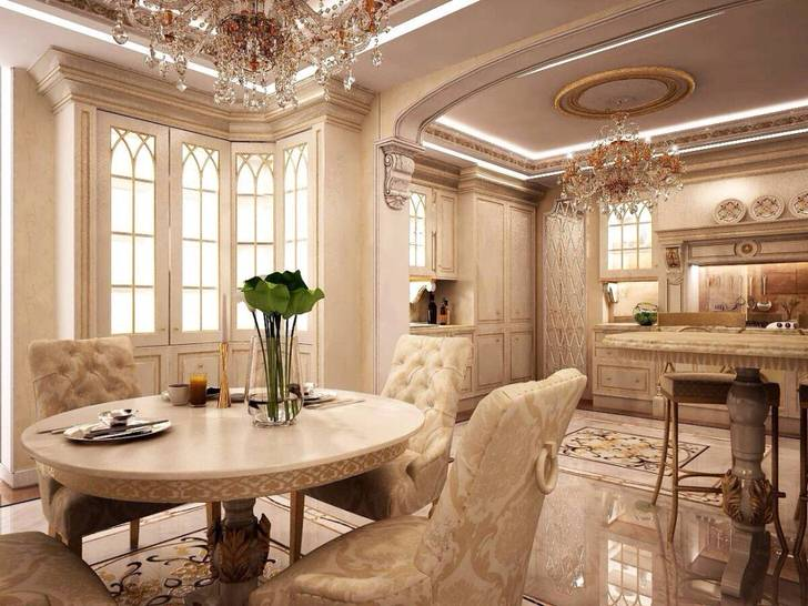 Роскошная кухня в стиле барокко .