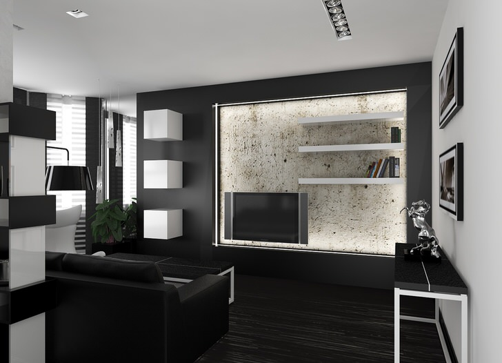 Минимум мебели в гостиной в хай-тек стиле. Полезное пространство комнаты не загромождено.