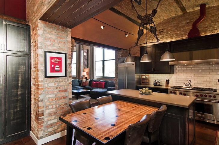 Стиль лофт на кухне, совмещенной с гостиной.