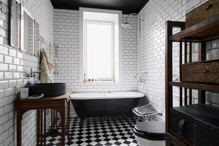 Контраст белого в ванной