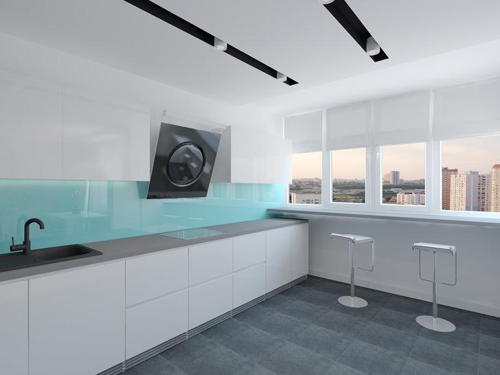 Основным требованием на кухне в стиле минимализм становится ее практичность и функциональность. В данном случае дизайнерский проект задействовал подоконник, который превратил в стол.