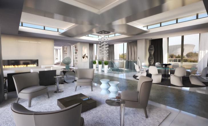 Большая квартира-студия оформлена в хай-тек стиле.