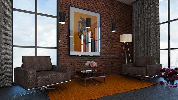 Дизайнерский проект для гостиной в лофт стиле. Отличный вариант для городских квартир.