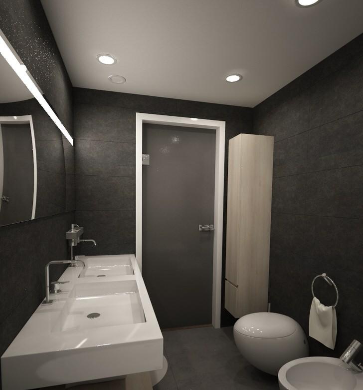 """Ванная комната в стиле лофт """"50 оттенков серого"""". Мягкий, приглушенный светло-серый и насыщенный темно-серый отлично сочетаются между собой."""