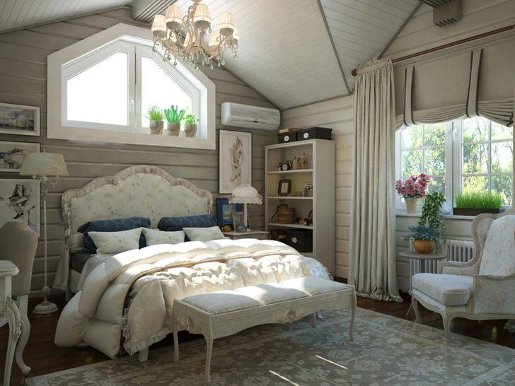 Спальня для гостей на мансардном этаже загородного дома. Интерьер в стиле кантри смотрится эффектно и стильно.