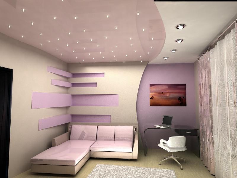 Шикарный натяжной потолок бело-фиолетового цвета.