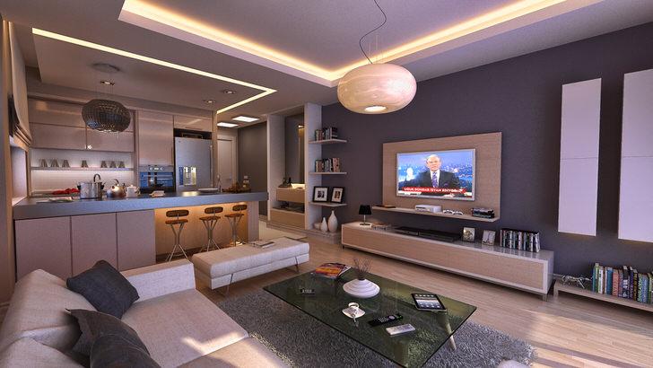 Для квартиры-студии в хай-тек стиле дизайнер подобрал правильное освещение. Две люстры повторяю друг друга во всем, за исключением цвета.