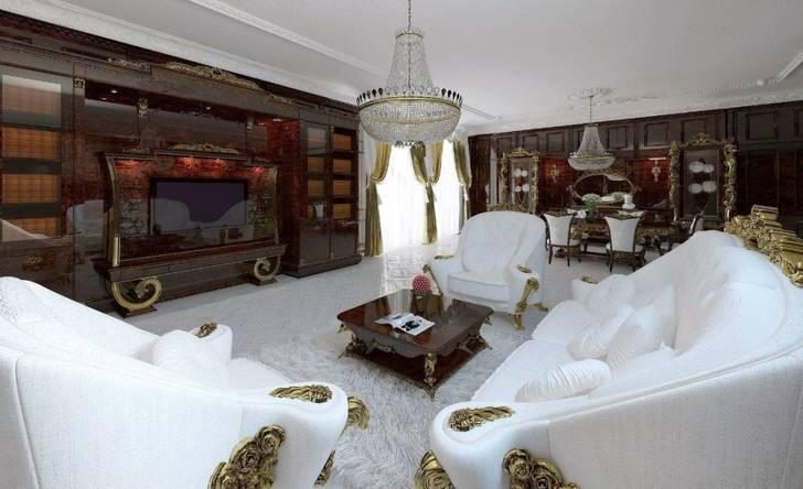Шикарный интерьер гостиной в барокко стиле.