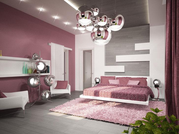 Пример грамотно подобранного освещения для спальни в стиле хай-тек. Потолочная люстра, прикроватные светильники и торшер выполнены в едином стиле.