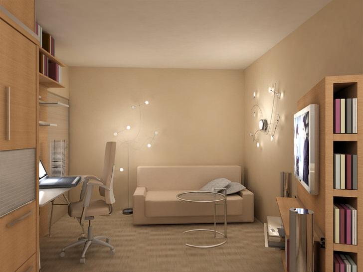 Пример грамотно подобранного освещения для комнаты в стиле эклектика.