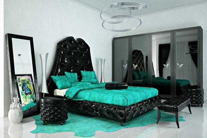 Яркие, броские цвета для стиля арт-деко. Изумрудный цвет гармонично перекликается с черным. Идеальный вариант спальни для творческой личности.