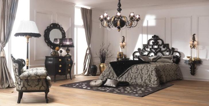 Королевская спальня в стиле арт-деко для семейной пары.