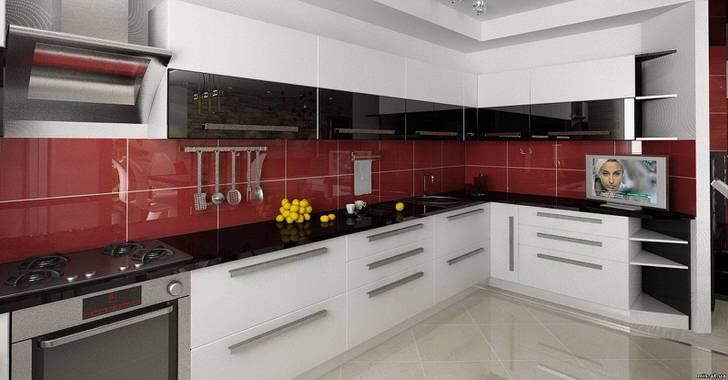 Кухонный гарнитур L-образной формы позволяет сэкономить пространство.