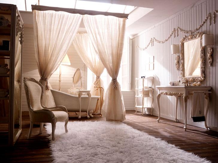 Балдахин из легкой, полупрозрачной ткани свидетельствует о наличии мотивов барокко в оформлении интерьера.