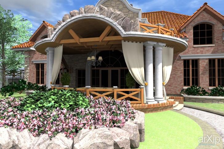 Стиль рустик предполагает использование в оформлении фасада дома натурального камня, дерева и кирпича.
