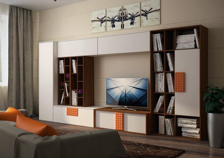 Строгая, концептуальная модульная стенка белого цвета с оранжевыми акцентами.