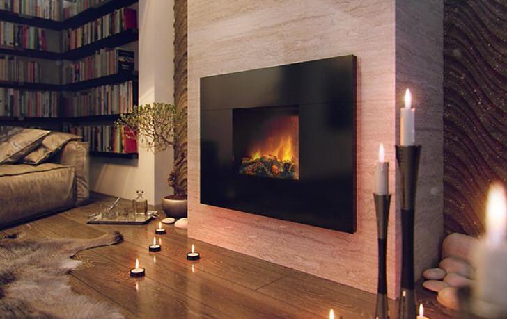 Большой электрокамин, имитирующий горение пламени, вносит в атмосферу романтичные веяния.
