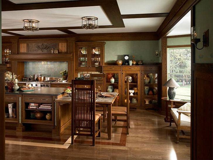 Функциональная кухня из темного дерева дорогостоящих пород - мечта практически любой хозяйки.