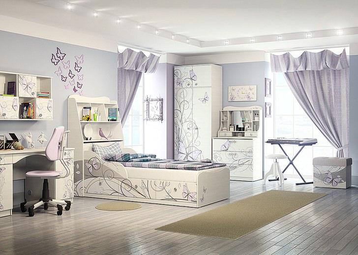 Оформление детской комнаты не будет полным без белой модульной мебели с узорами.