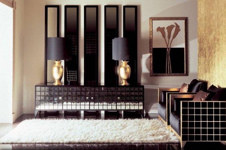 Классическое сочетание черного цвета и золота всегда смотрится выгодно, тем более в интерьере в стиле арт-деко.
