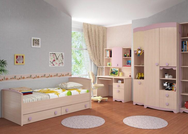 Модульная мебель для детской должна быть вместительна, чтобы комната ребенка не казалась захламленной.