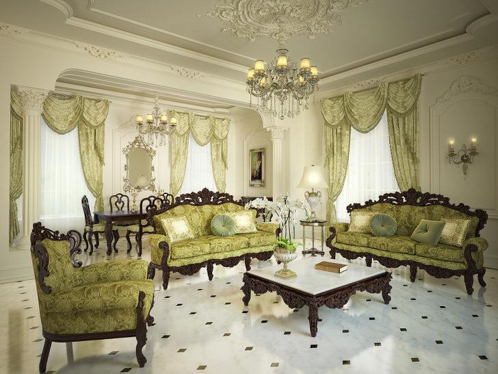 Оформление просторной гостиной в барокко стиле.