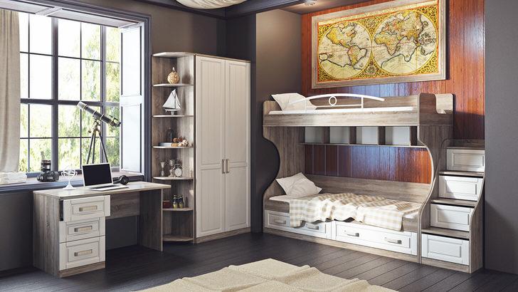 Стильная комната для двоих детей. В комнате есть вся необходимая мебель.