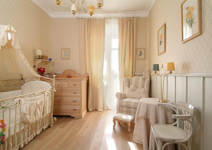 Нежные апартаменты для новорожденного ребенка в стиле кантри.