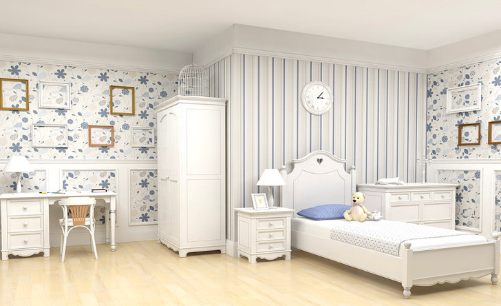 Просторная комната в кантри стиле для ребенка. Стильная современная обстановка в деревенском стиле украшена пустыми рамками - креативный дизайнерский шаг.