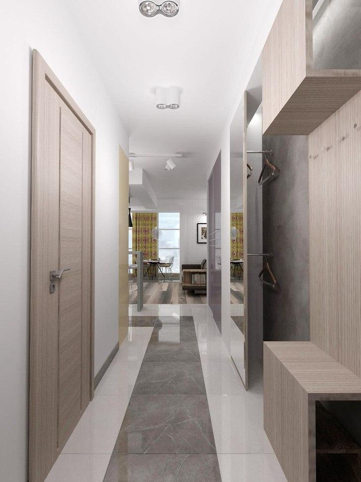 Дизайнерский проект для длинного коридора в хай-тек стиле.