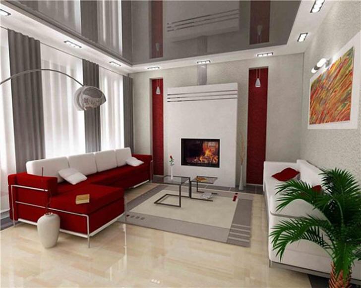 Гостевая комната с натяжными потолкам в большом загородном доме.