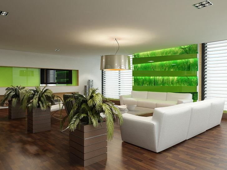 Экологический стиль в интерьере гостиной помогает владельцам квартиры и ее гостям отвлечься от городской суеты.