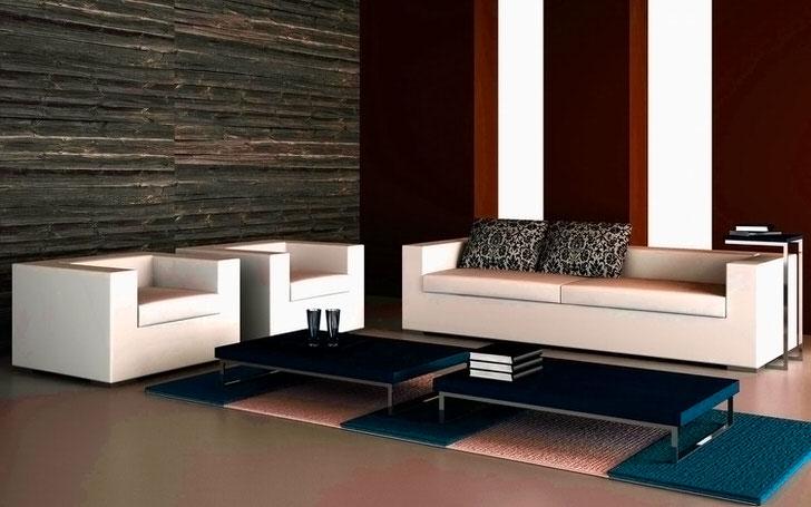 Дизайнерский проект гостиной в стиле хай тек. Лаконичный диван с двумя креслами гармонично смотрится в минималистическом стиле.