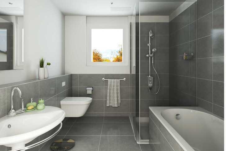 Стиль модерн мягкий, нейтральный, спокойный. Классическое сочетание белого и черного - отличный вариант для оформления ванной комнаты.