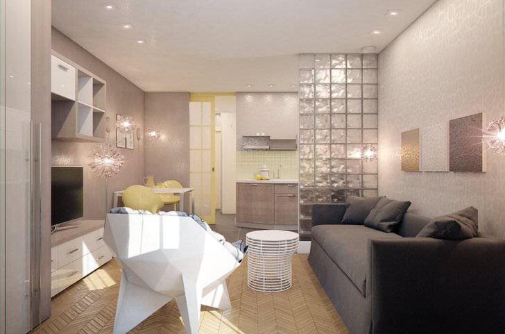 Квартира-студия в современном стиле хай тек. Удачное решение планировки декоративная стенка из стекла, отделяющая гостиную от кухни.