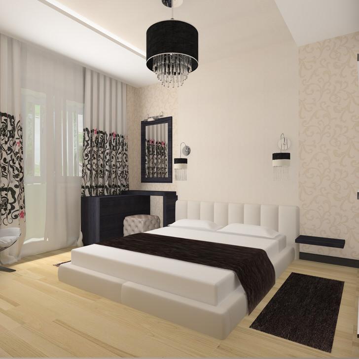Отличный пример того, что дизайн спальни в стиле модерн не должен быть громоздким и перегруженным мелочами. Просторная комната с минимальным количество декоративных элементов достойно смотрится в завершенном виде.