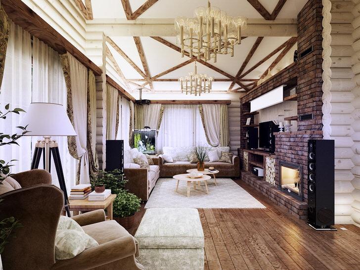 Гостиная в стиле шале - отличный вариант оформления интерьера для ценителей провинциальной красоты.