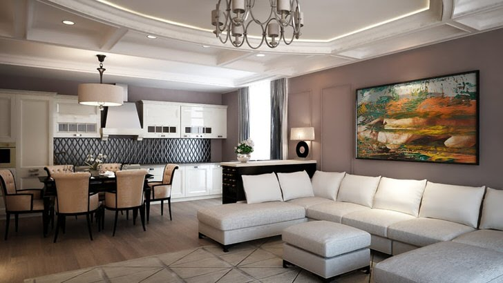 Квартира-студия в современном стиле оформлена в теплой и светлой цветовой гамме.