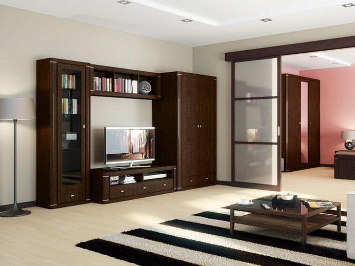 Благородный цвет венге идеален для оформления гостевой комнаты. Современное цветовое решение делает гостиную стильной и изысканной.
