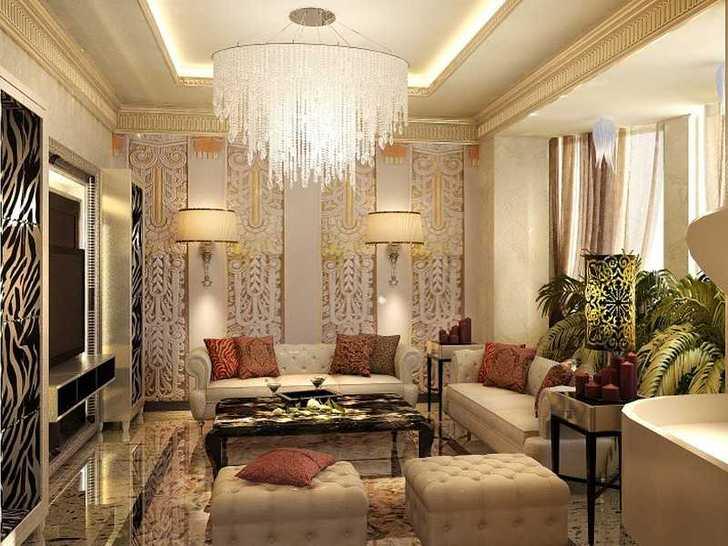 В соответствии требованиями для оформления гостиной в стиле арт было использовано множество различных текстур. Но дизайнер смог не перешагнуть через тонкую грань и помещение осталось изысканным и не перегруженным избытком деталей.