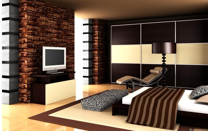 Дизайнерский проект воплощен с использованием мебели цвета венге, который также преобладает в отделке стен.