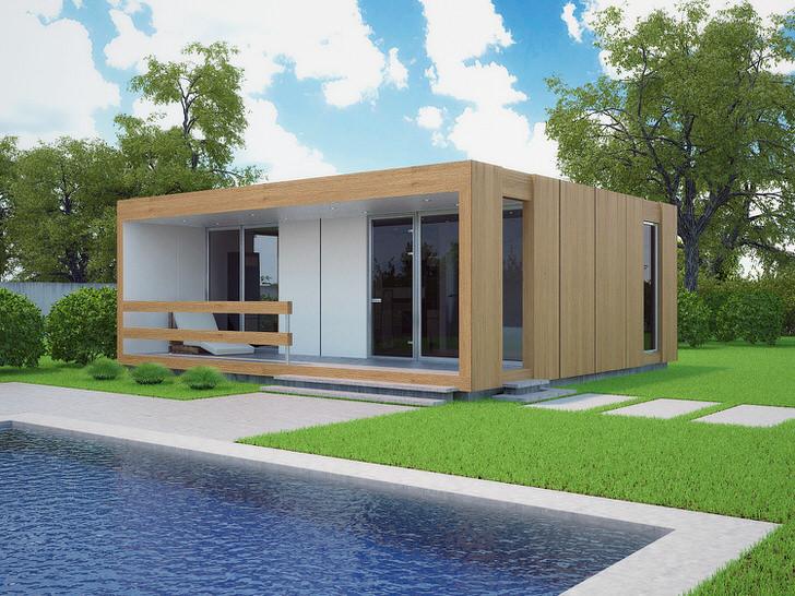 Небольшой модульный дом с бассейном во дворе. Стильный дизайн быстро возводимого дома органично смотрится на фоне коротко стриженного газона.